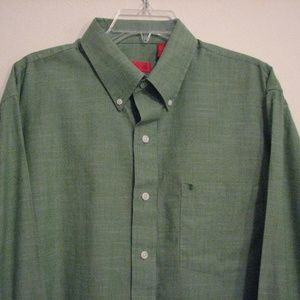 IZOD Green Long Sleeve Button Front Large Shirt